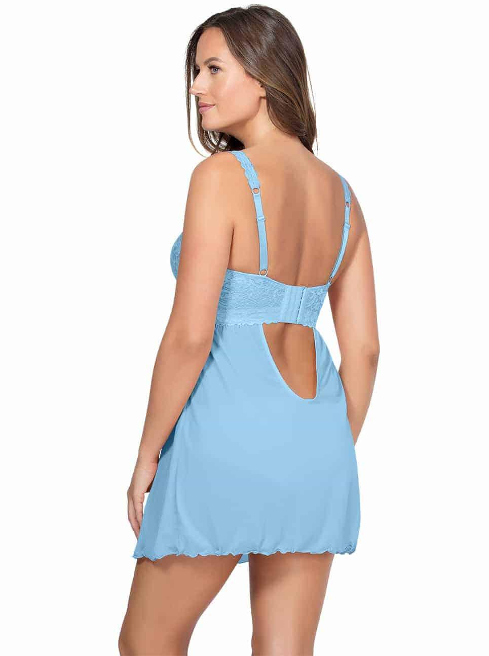 PARFAIT Adriana UnlinedBabydollP5488 BikiniP5483 SkyBlue Back2 - Adriana Unlined Babydoll - Sky Blue - P5488