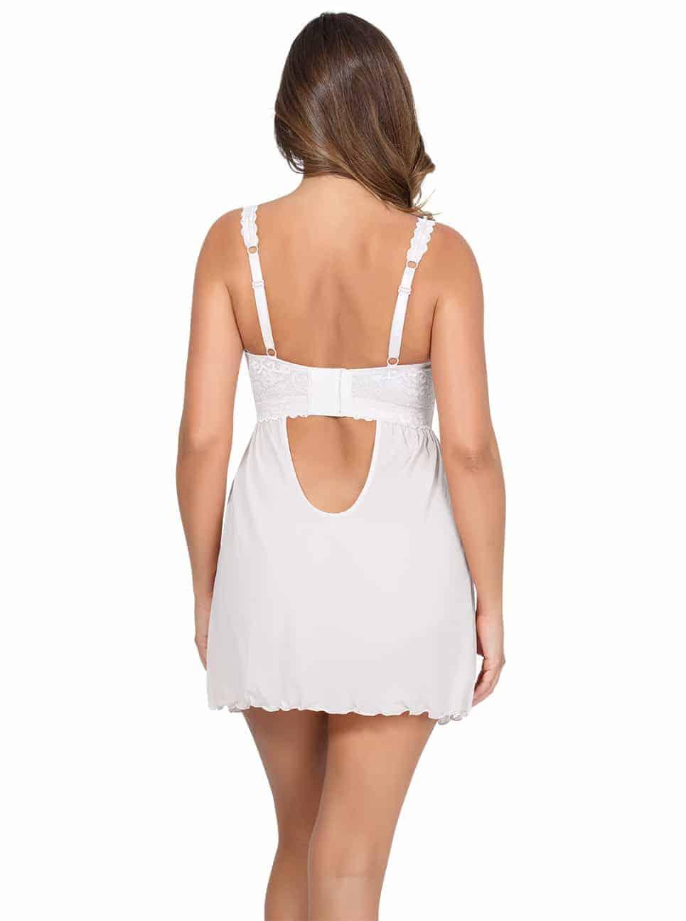 PARFAIT Adriana UnlinedBabydollP5488 BikiniP5483 PearlWhite Back2 - Adriana Unlined Babydoll - Pearl White - P5488