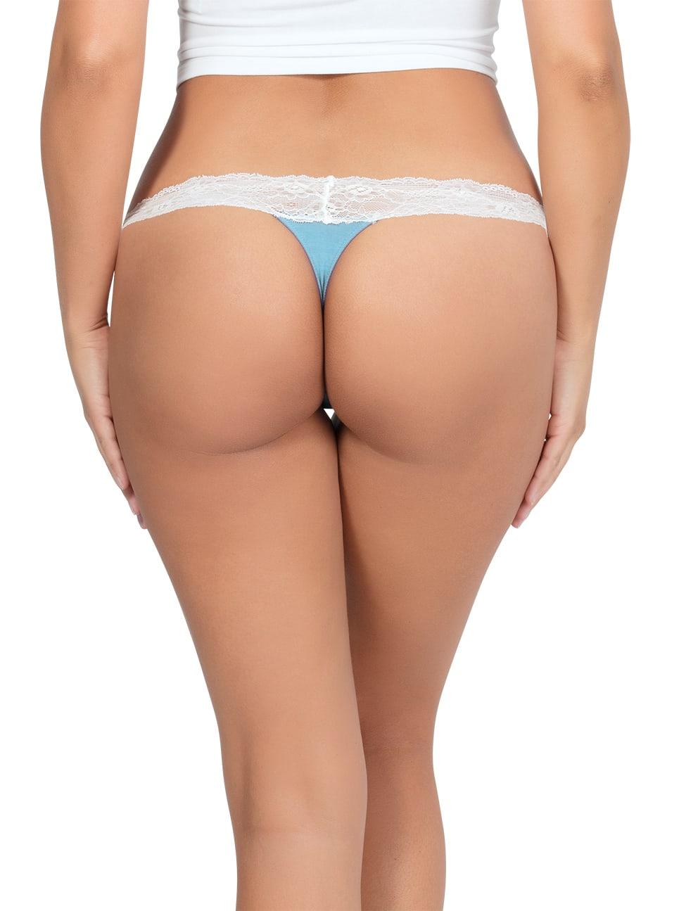 PARFAIT ParfaitPanty SoEssential ThongPP303 SkyBlueIvory Back - Parfait Panty So Essential Thong- Skyblue - PP403