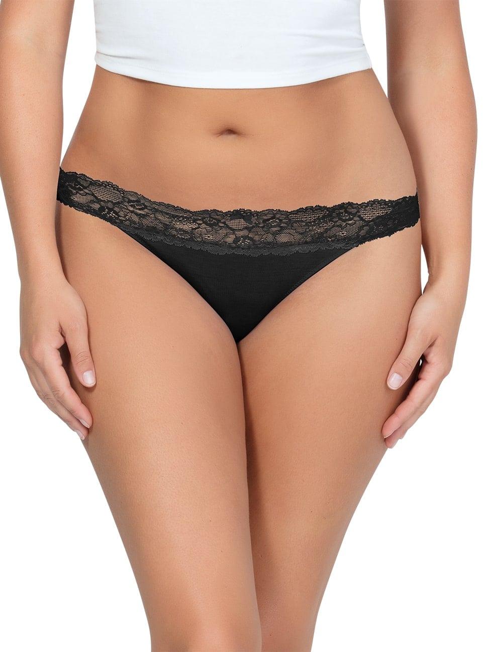 PARFAIT ParfaitPanty SoEssential ThongPP403 Black Front - Parfait Panty So Essential Thong - Black - PP403