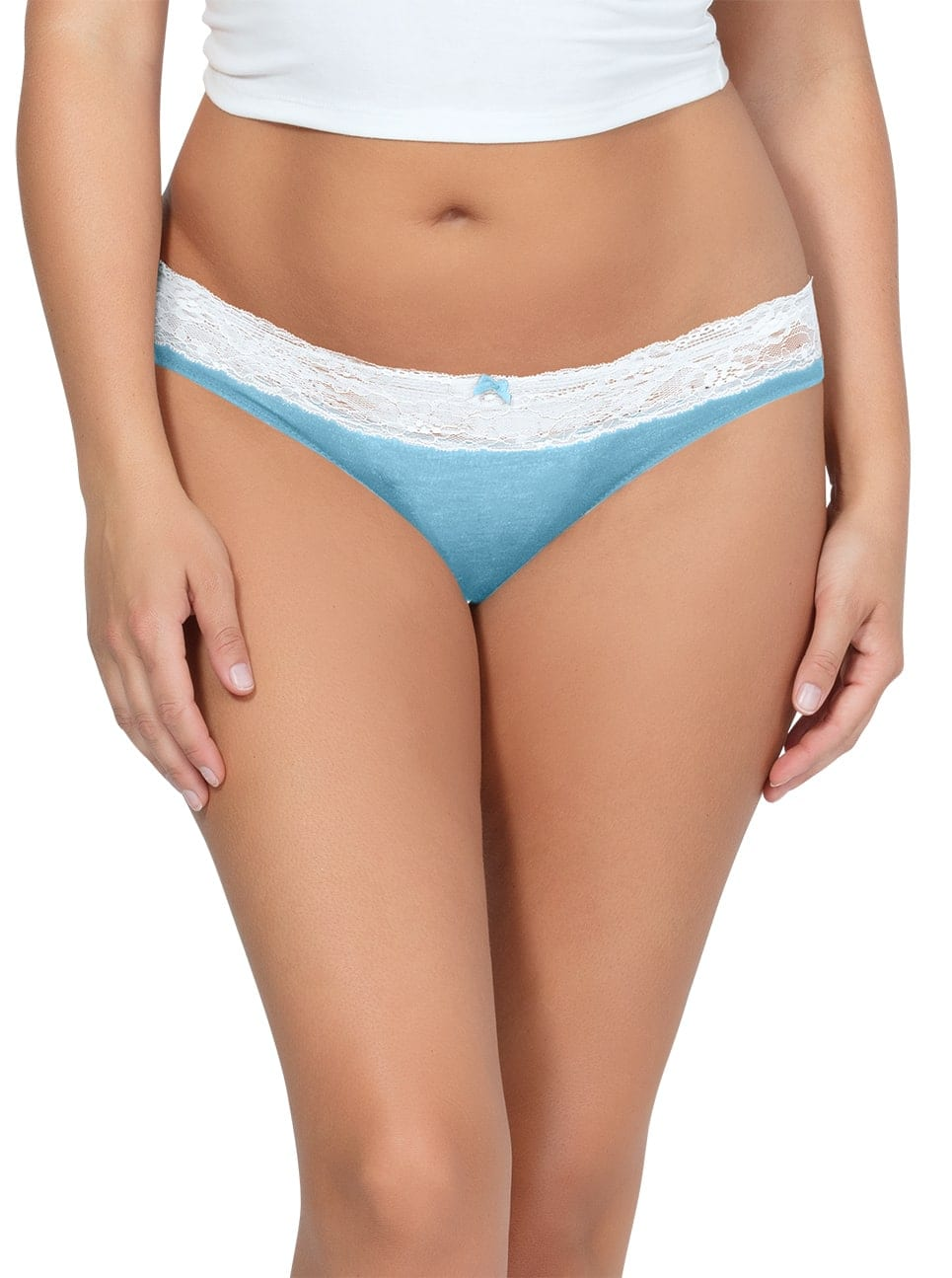 PARFAIT ParfaitPanty SoEssential BikiniPP303 SkyBlueIvory Front - Parfait Panty So Essential Bikini- Skyblue - PP303
