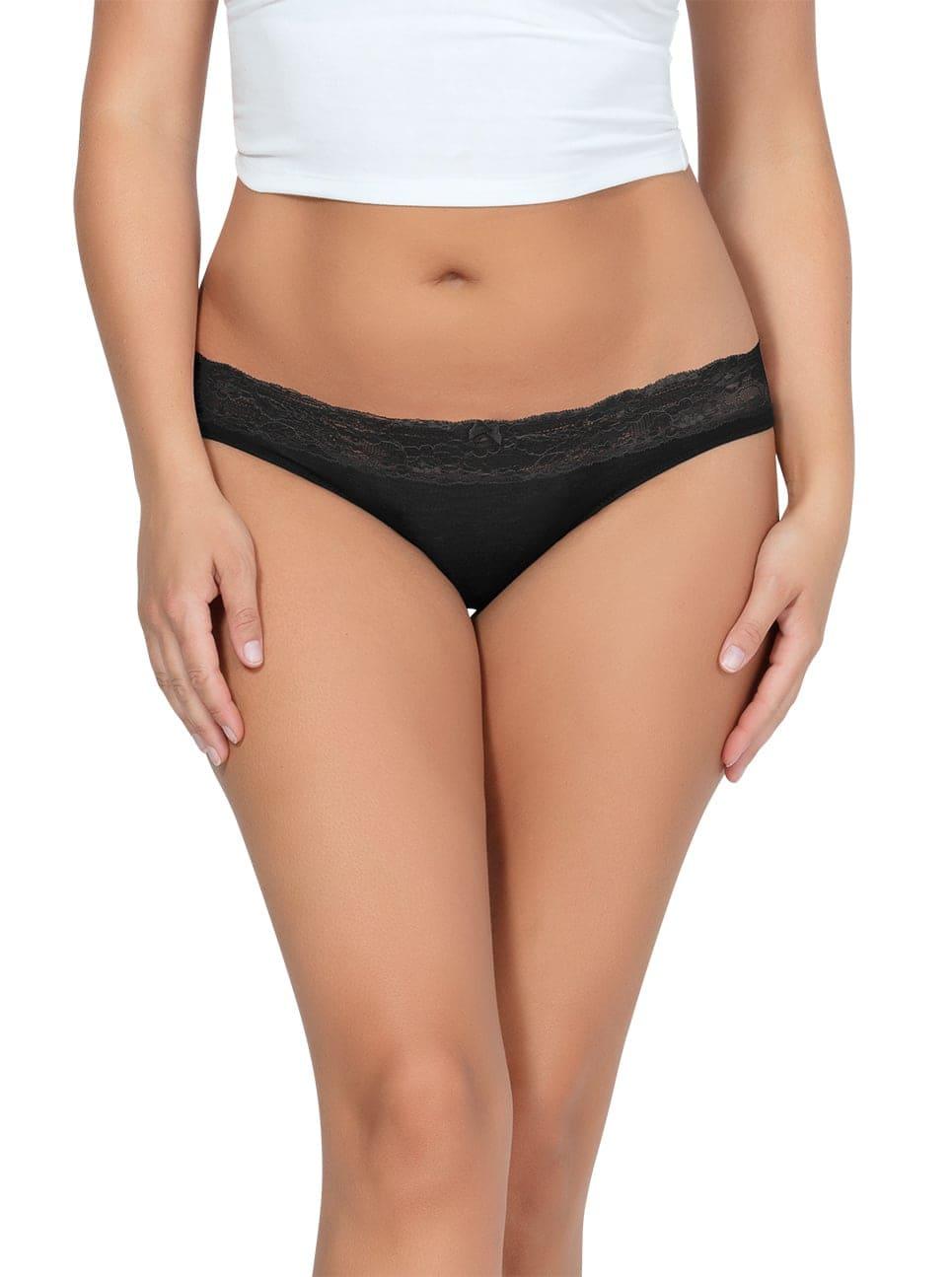 PARFAIT ParfaitPanty SoEssential BikiniPP303 Black Front close - Parfait Panty So Essential Bikini- Black - PP303