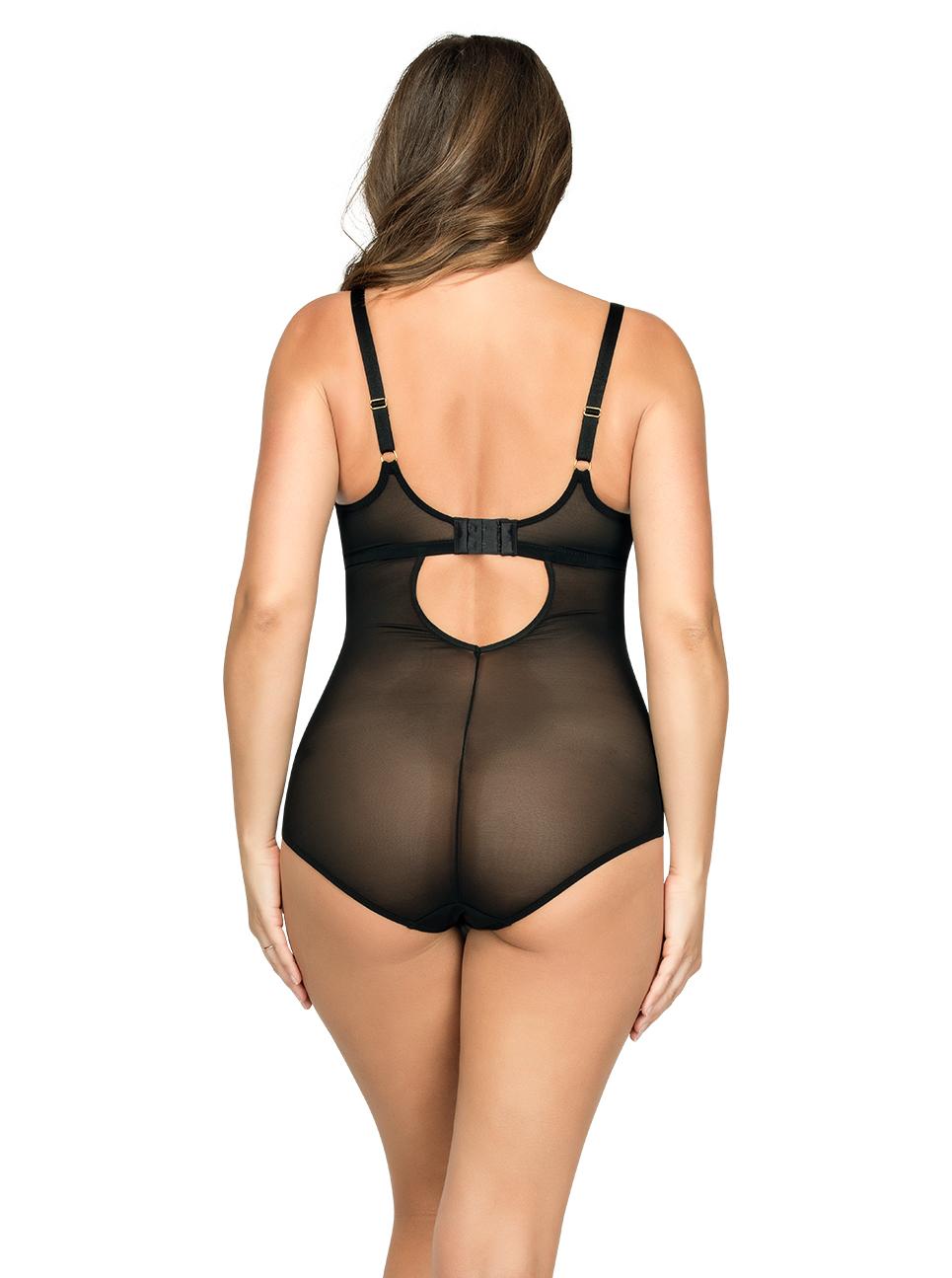 PARFAIT Briana WiredBodysuitP5677 BlackFloral Back - Briana Wired Bodysuit Black Floral P5677