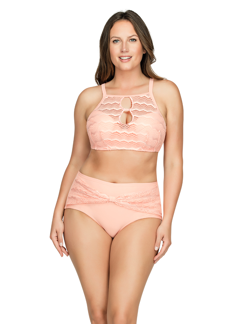 PARFAIT Keira HalterNeckBikiniTopS8071 HighWaistBikiniBottomS8075 Peach Front1 - Keira High-Waist Bikini Bottom Peach S8075