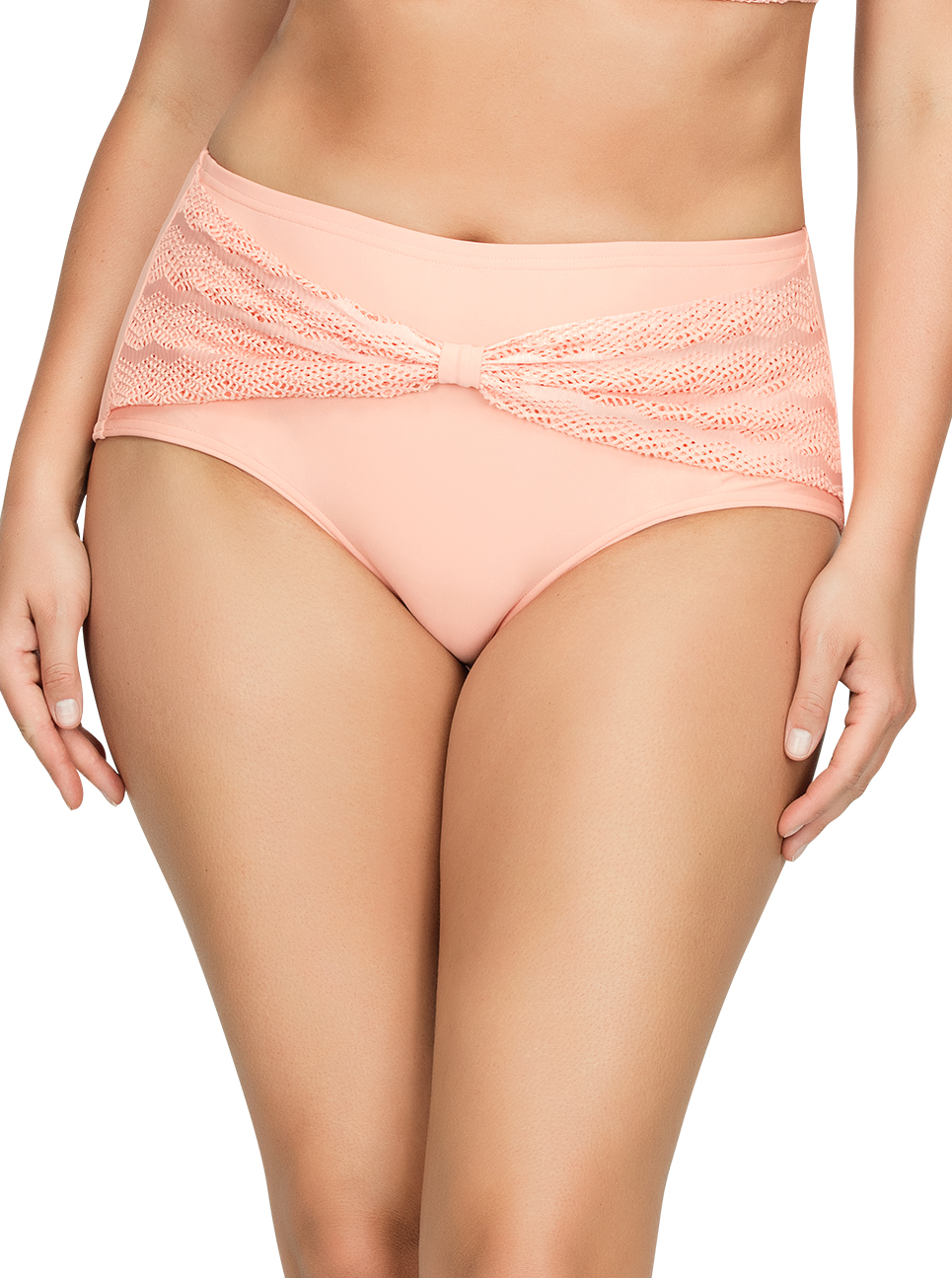 PARFAIT Keira HighWaistBikiniBottomS8075 Peach Front1 - Keira High-Waist Bikini Bottom Peach S8075