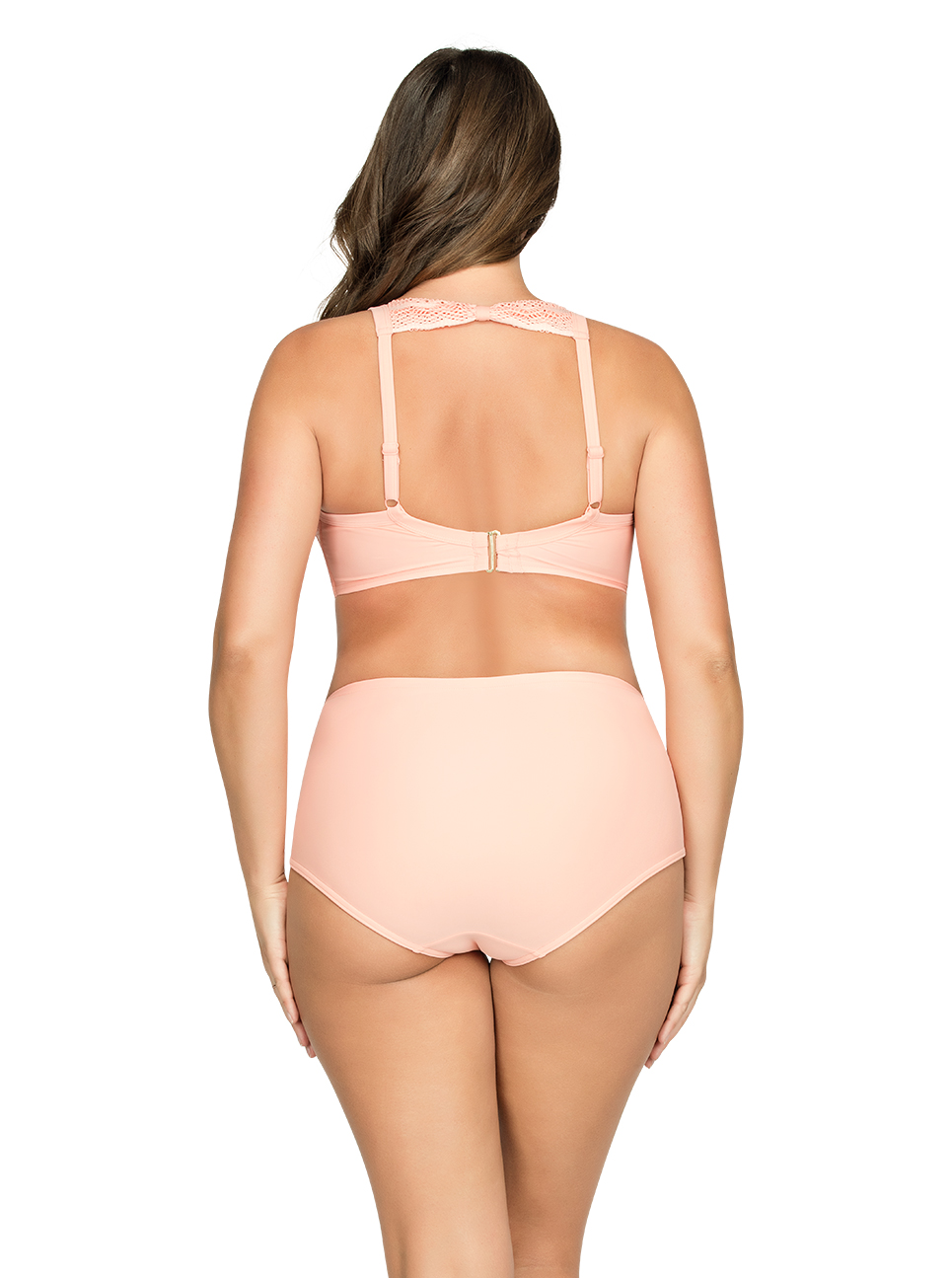 PARFAIT Keira HalterNeckBikiniTopS8071 HighWaistBikiniBottomS8075 Peach Back - Keira High-Waist Bikini Bottom Peach S8075