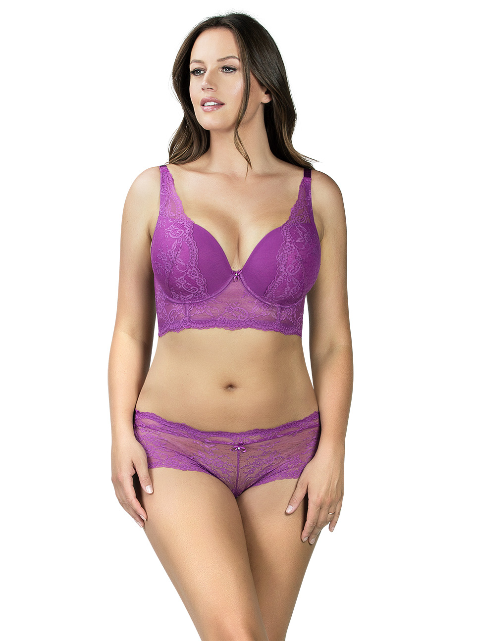 PARFAIT Sandrine PlungeLonglineBraP5351 HipsterP5355 Orchid Front - Sandrine Hipster Orchid P5355