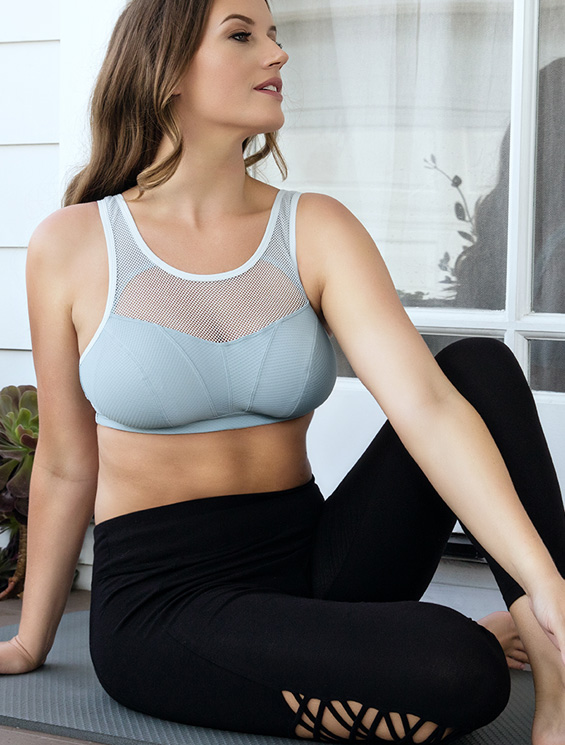 Parfait Active Wireless Unlined Sports Bra - P5542 - Granite Blue