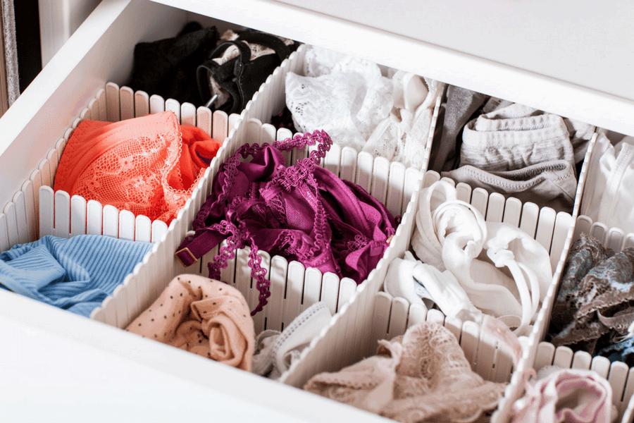 organize lingerie drawer