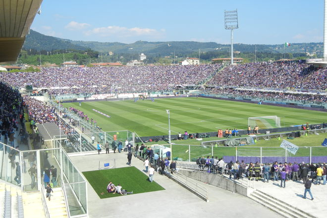Artemio Franchi soccer stadium and fans in Florence.