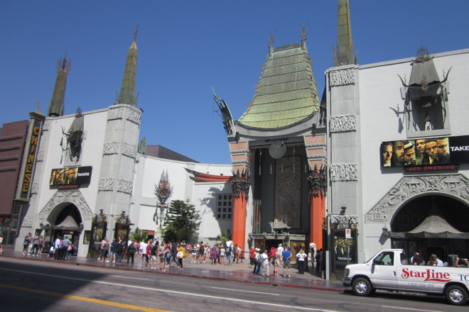 The Grauman's Chinese Theatre on Hollywood Boulevard.