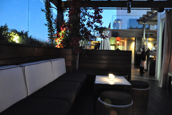 The luxurious outdoor seating at the ABH at the Thompson in Beverly Hills.