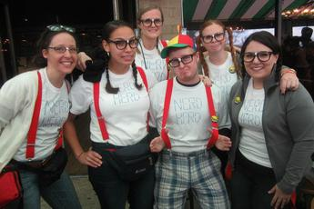Fun-loving nerds having a ball at the Lindy 500 Baltimore Limo Scavenger Hunt.
