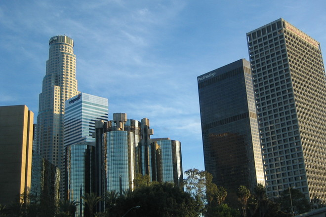 The Downtown Los Angeles cityscape.