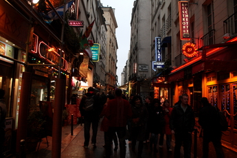Rue de la Huchette - Nightlife Area in Paris.