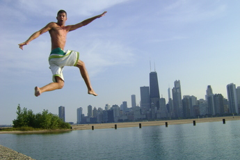 Jump to your nearest beach for a high-quality tan. This fellah enjoys leaping to and from North Avenue Beach in Chicago.