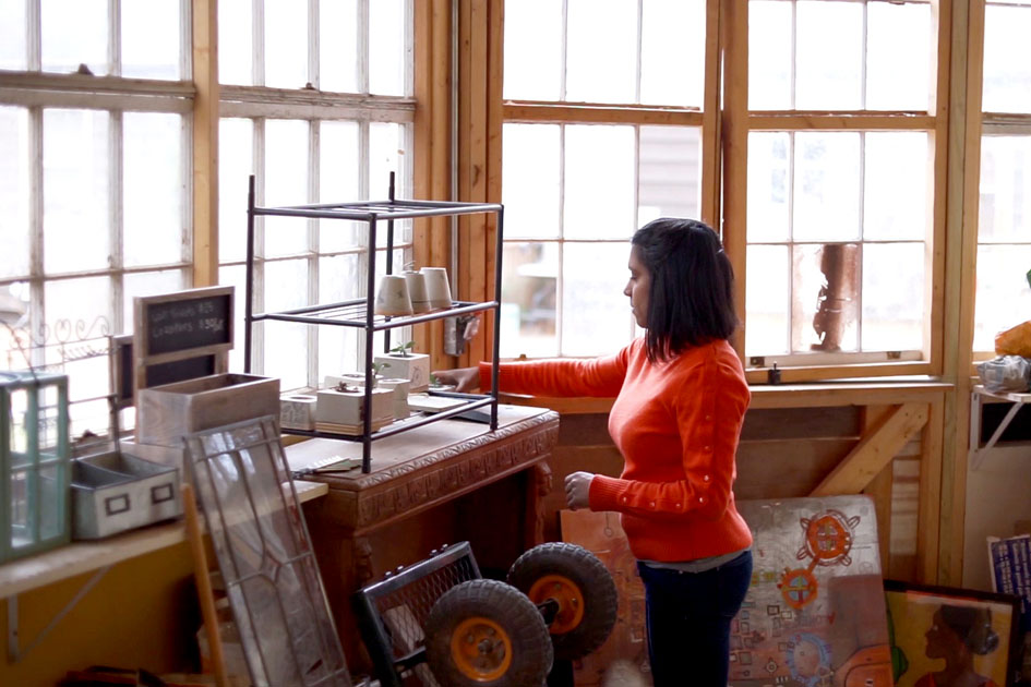 Mona at work in her studio.