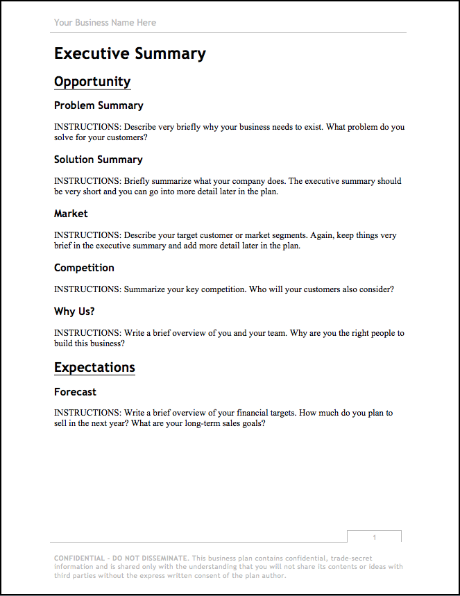 Business Plan Template Updated For Free Download Bplans - Sample business prospectus template