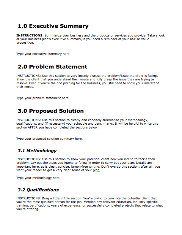 Business Proposal Template Free Download Bplans - What does a business plan look like template