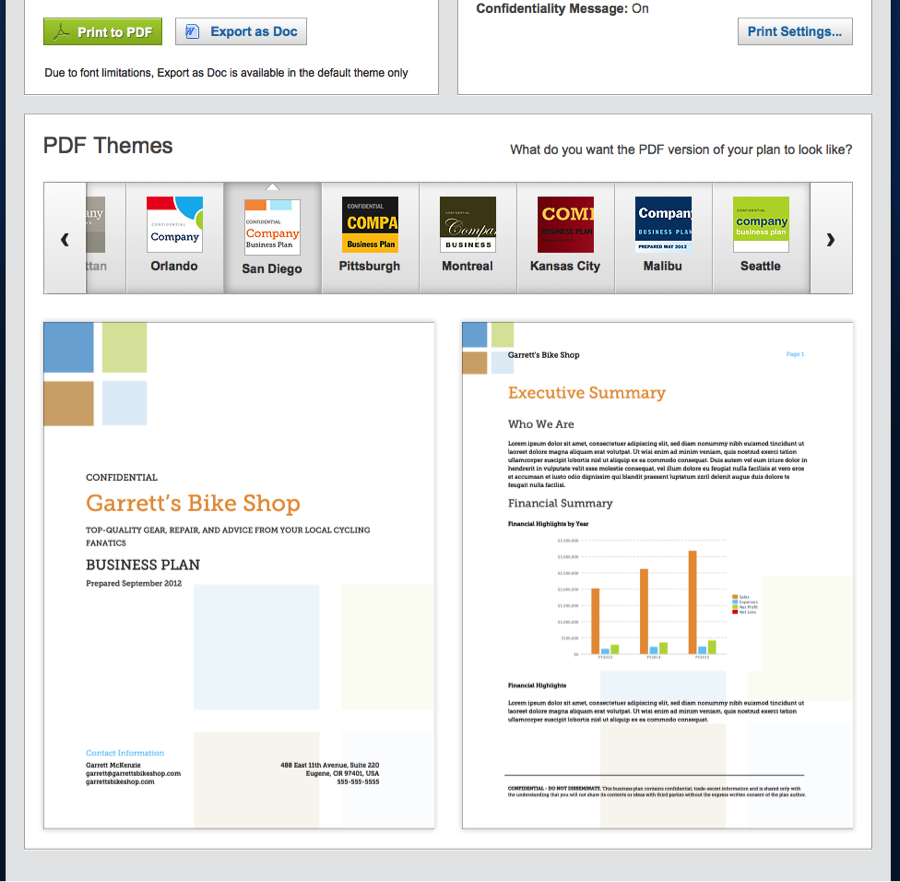 Business Plan Pdf Themes And Quickbooks Import Feature
