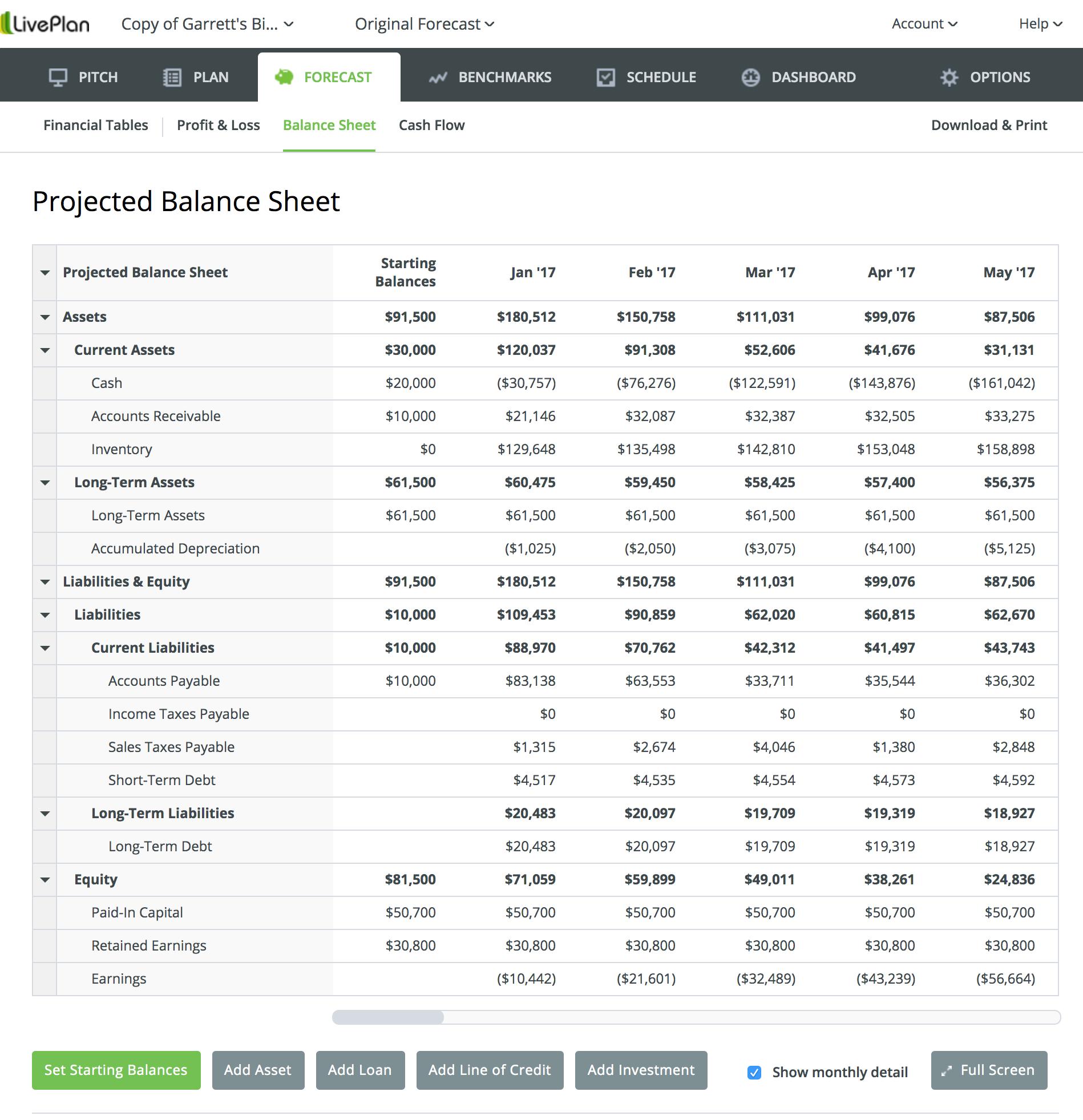balance sheet liveplan