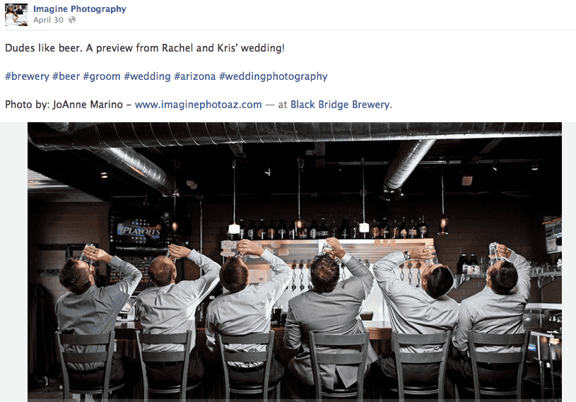 image of several men drinking beer at a wedding posted to Marino's photography business Facebook page