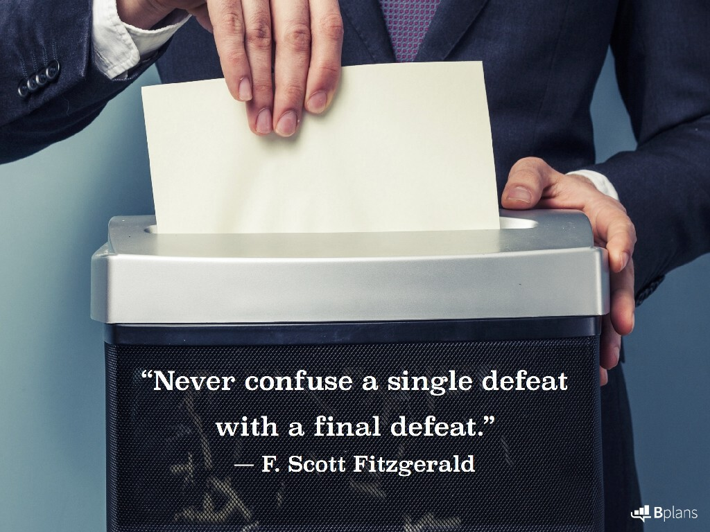 """Never confuse a single defeat with a final defeat."" — F. Scott Fitzgerald; Tweet this!"