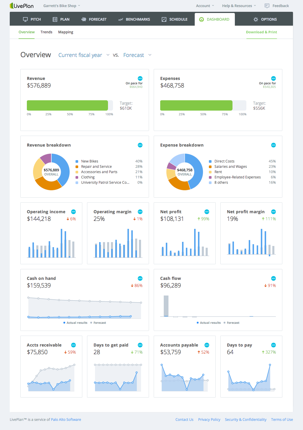 business plan dashboard
