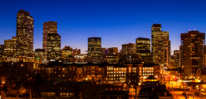 The Denver skyline at night.