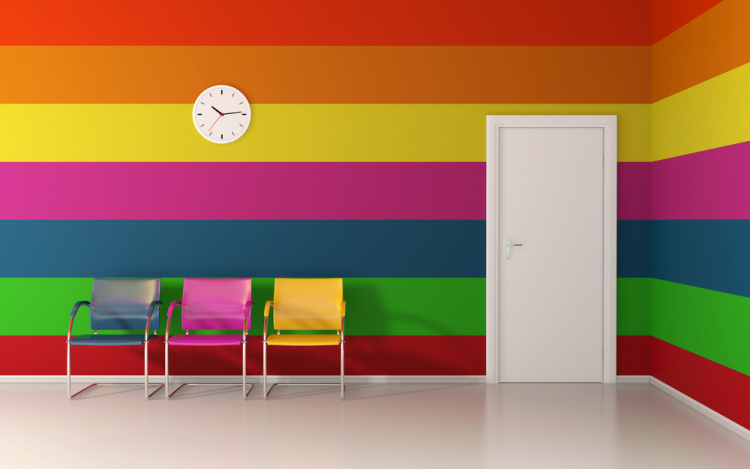 Color can definitely spice up an office... but you probably don't need to go quite this far.