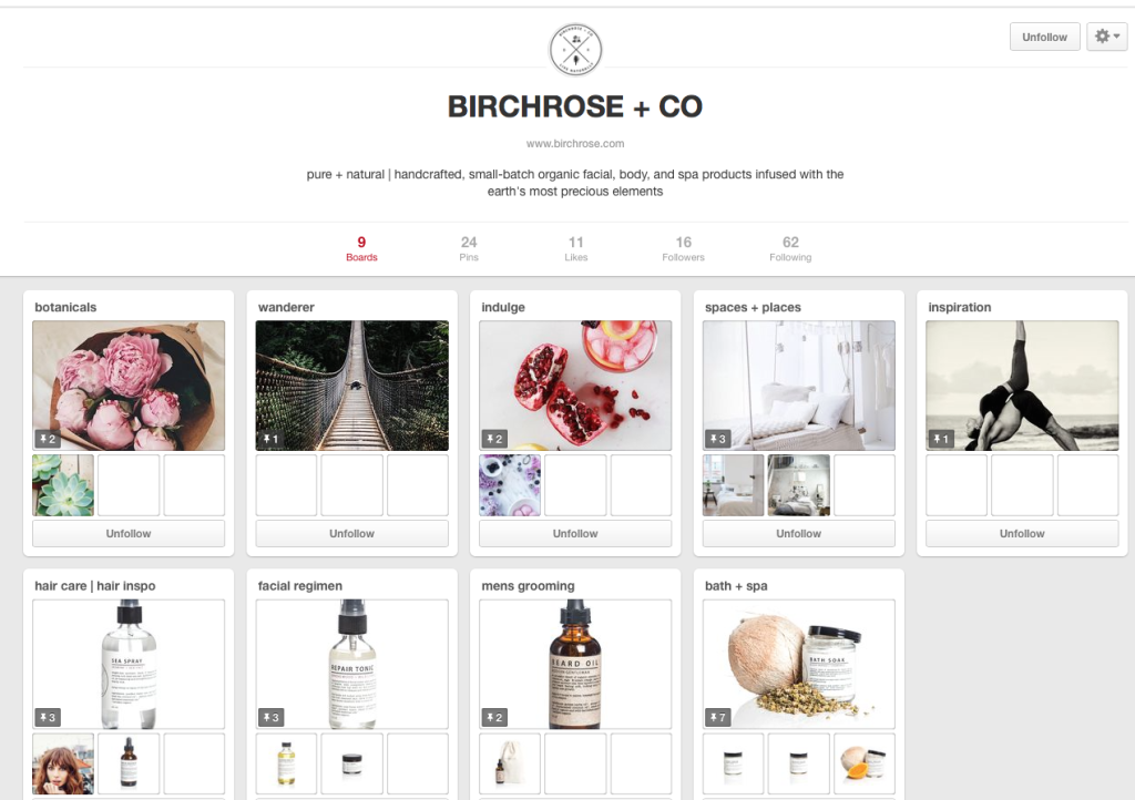 BirchRose+Co Pinterest page example