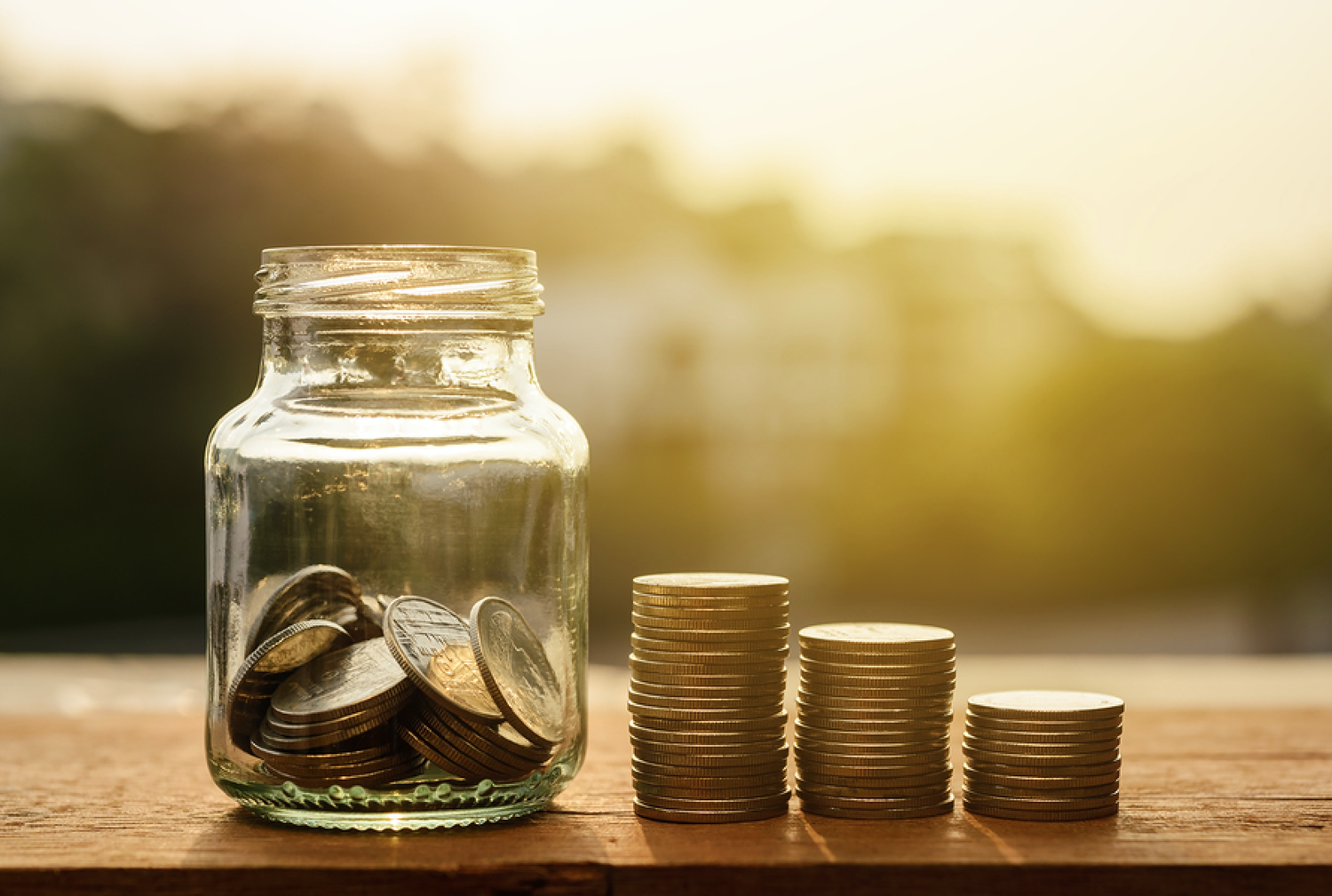 Jar of coins for small business funding