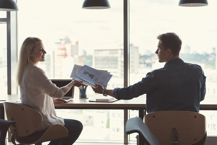 Handing over paperwork; VC funding concept