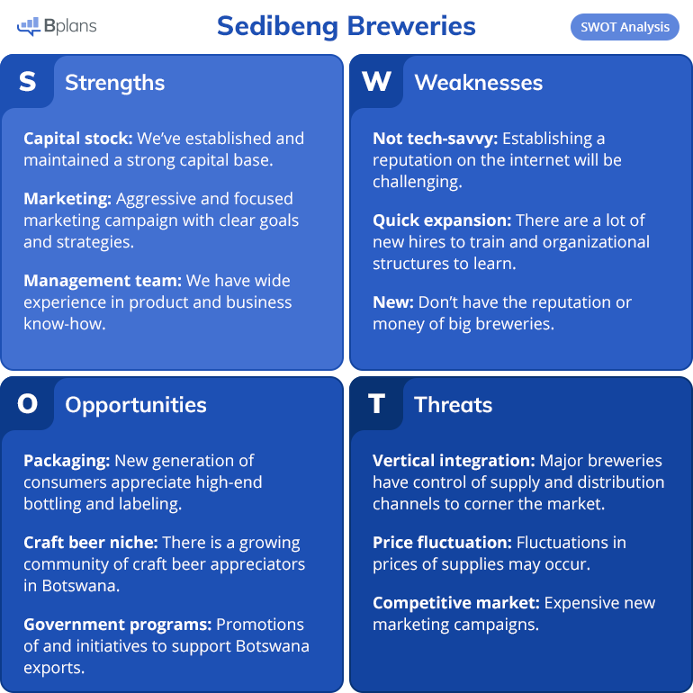 Sedibeng Brewery SWOT analysis example