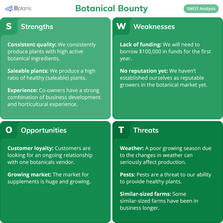 Botanical Bounty SWOT analysis example