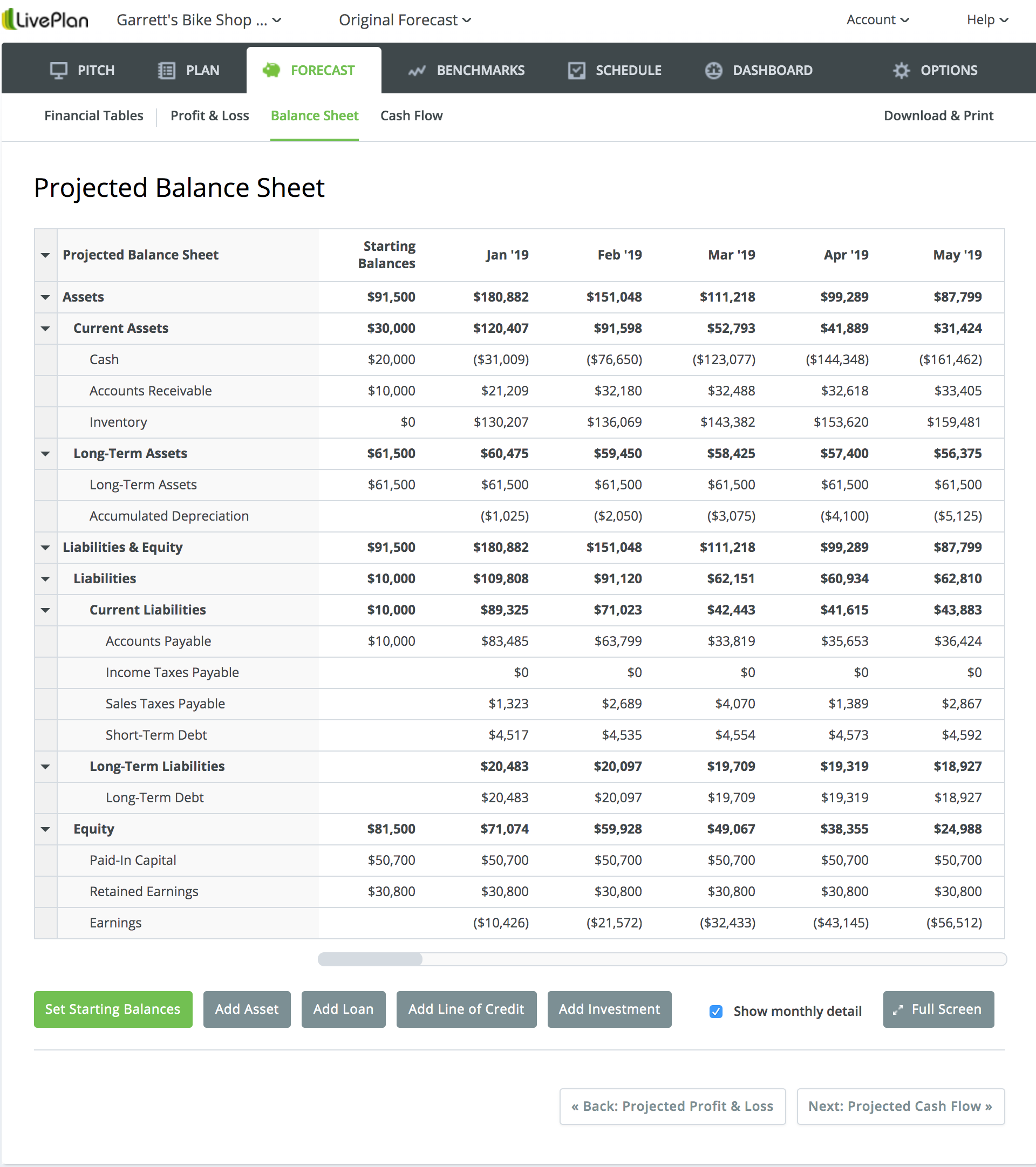 The balance sheet in LivePlan