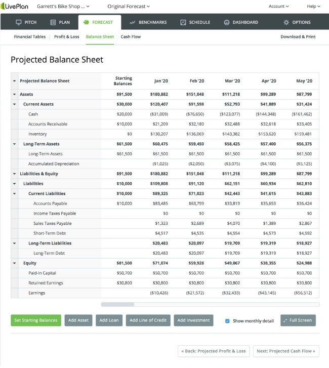 Here's what a traditional balance sheet can look like within LivePlan