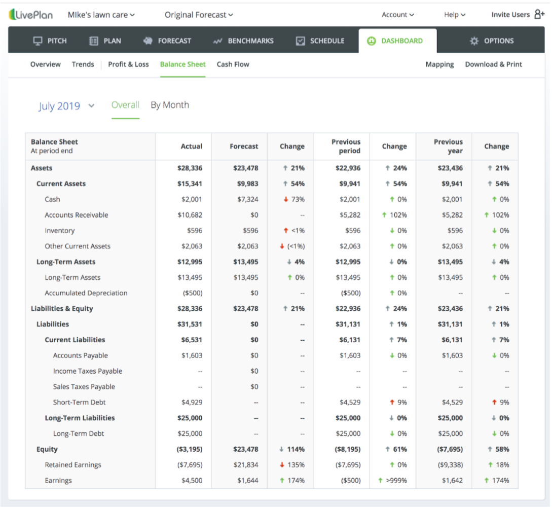 LivePlan dashboard balance sheet and cash flow statement