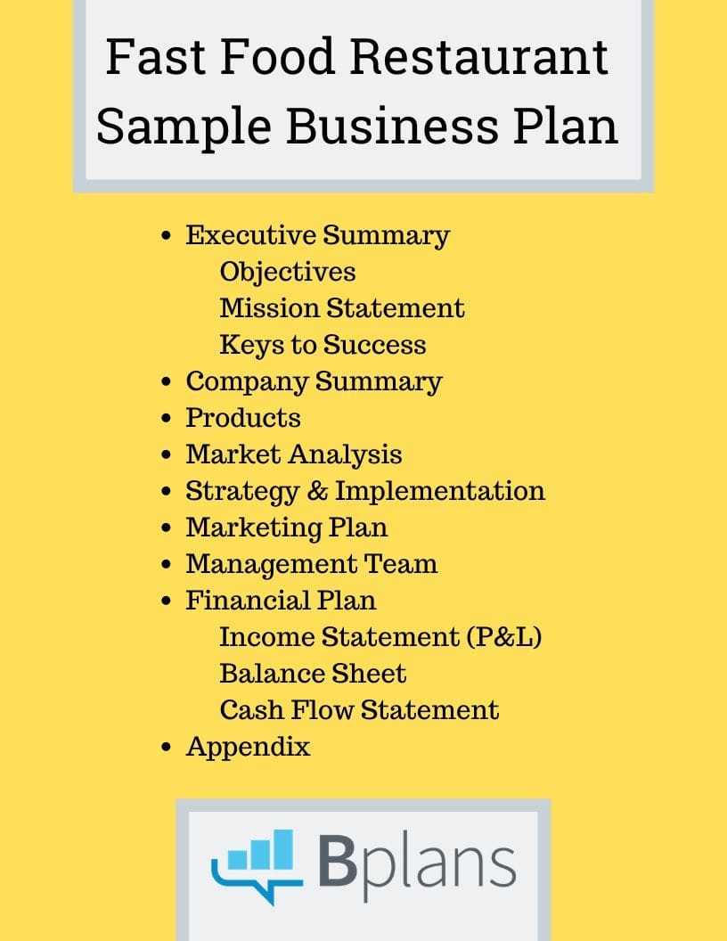 fast food restaurant sample business plan