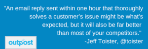 Image of customer Jeff Toister's customer satisfaction quote stating timely and thought out email responses are important
