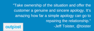 image of Jeff Toister's customer satisfaction quote regarding the importance of taking ownership