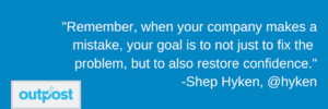 image of Shep Hyken's customer satisfaction quote on the importance of restoring confidence
