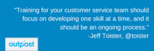 image of Jeff Toister's customer satisfaction quote on the importance of ongoing training