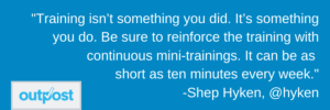 image of Shep Hyken's customer satisfaction quote on the importance of continuously training