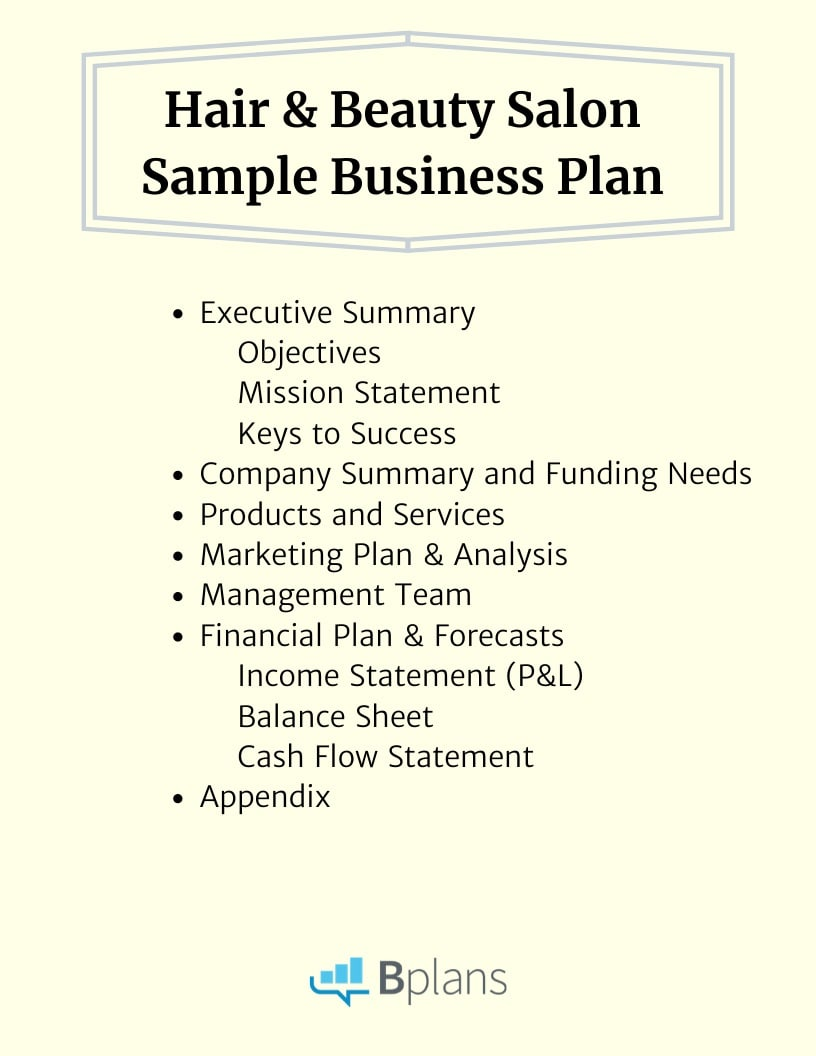 Hair and beauty salon sample business plan outline