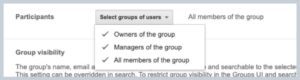 Modify the participants dropdown in your Google Group to set up the types of users available.