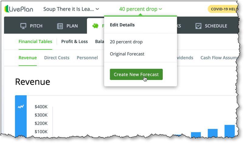 LivePlan Scenarios