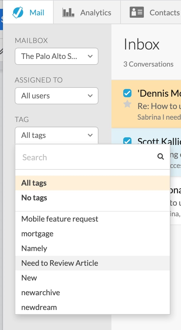 Once your emails have tags, you can filter them by tag or use an advanced search to find the emails that you're looking for.