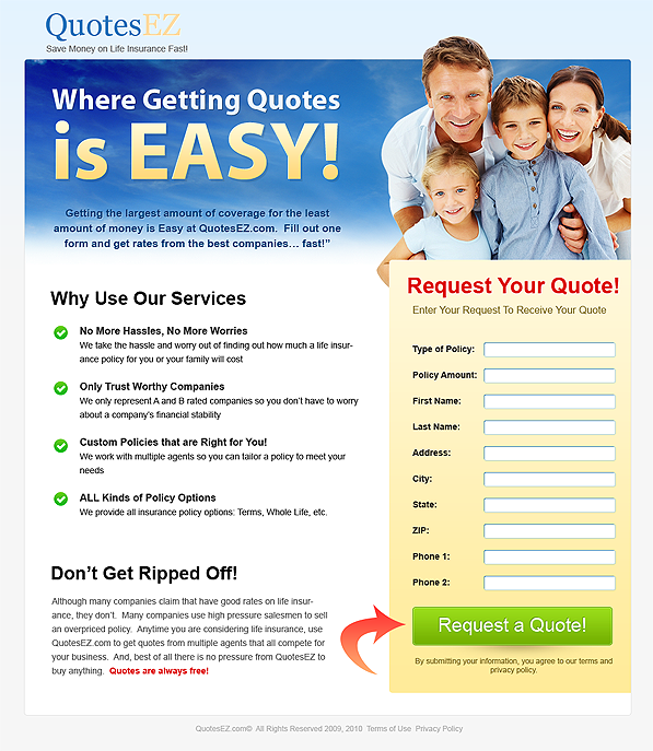Life Insurance Quotes Without Personal Information: Landing Page Flaw #2: Going For The Jugular