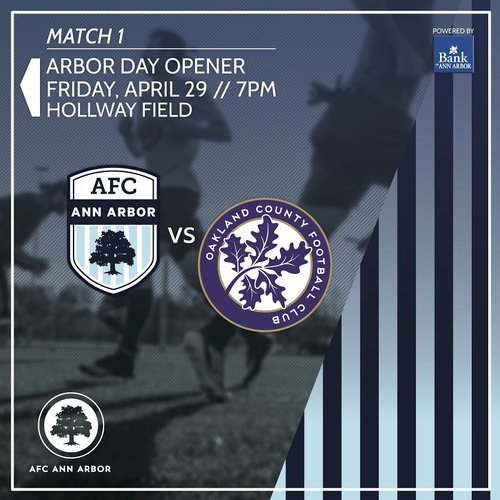 AFC Ann Arbor vs Oakland County FC poster